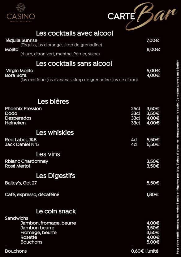 Carte du Bar du Casino de Saint Gilles restriction COVID