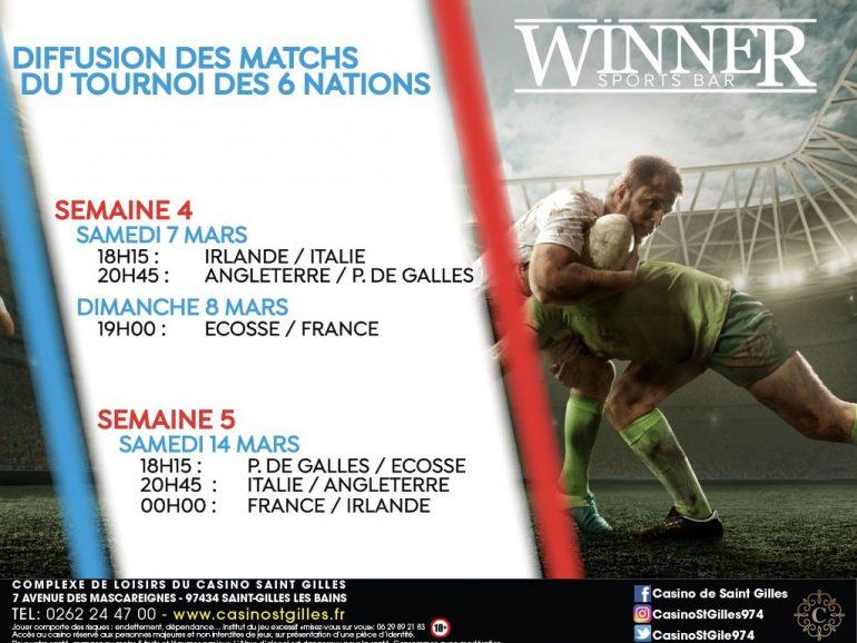 DIFFUSION DES MATCHS DE RUGBY DU TOURNOI DES 6 NATIONS AU WINNER SPORTS BAR